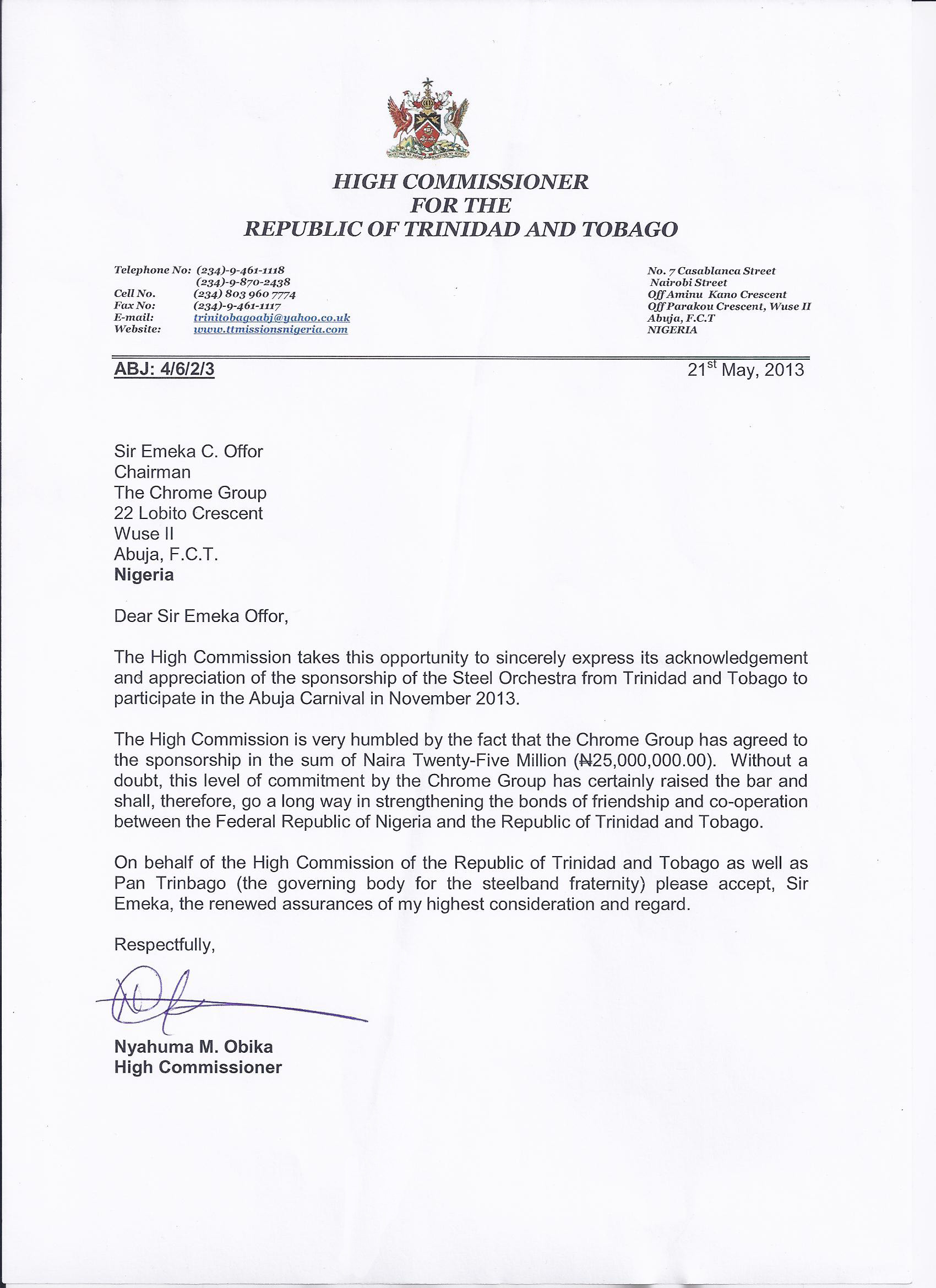 Letter from the High Commissioner