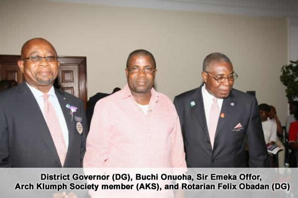 2. district governor (dg), buchi onuoha, sir emeka offor, arch klumph society member (aks), and rotarian felix obadan (dg)